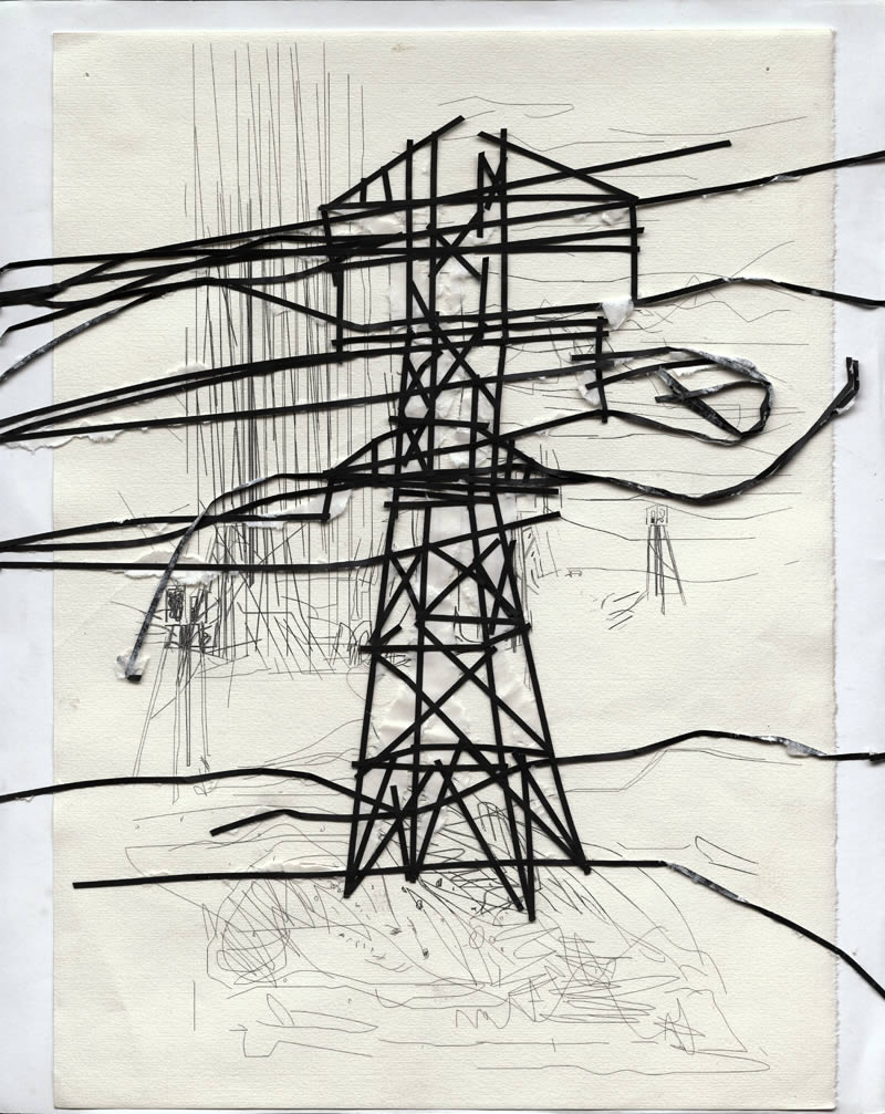 2005 Telegrafenmast paper AndreasGehlen - Untitled / The teasing brothers IV